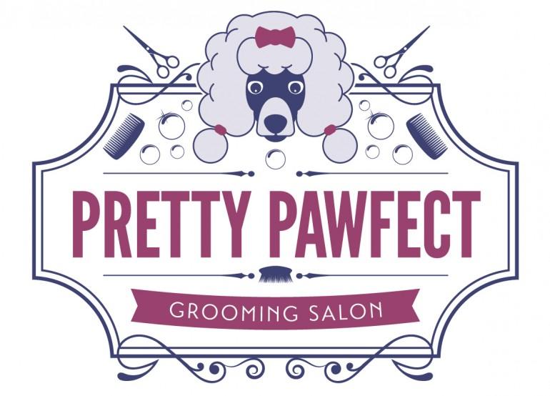 dog grooming logo design typography