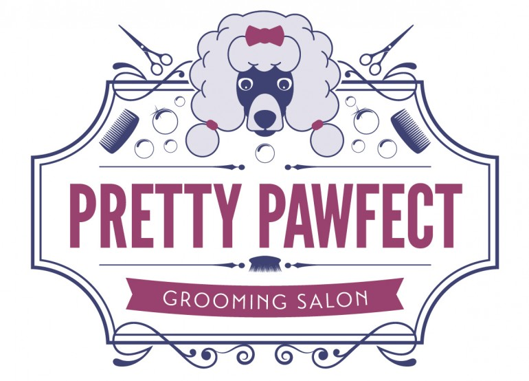 dog grooming logo design typography