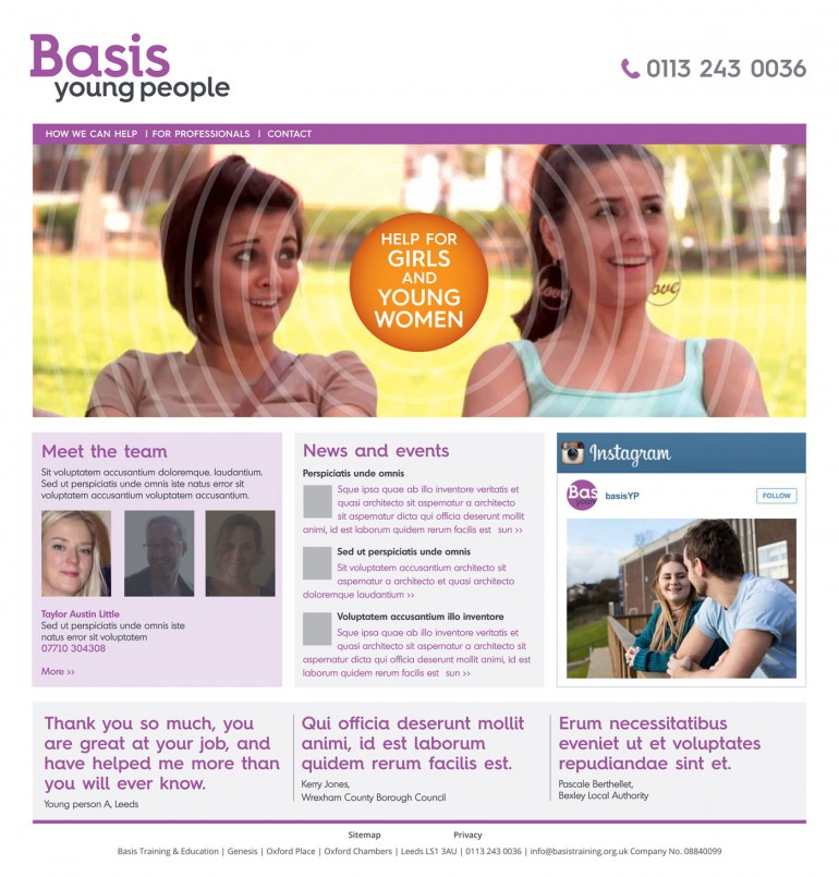 web design, Basis Yorkshire, home page, Basis Young People